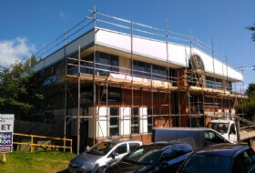 Edge protection and window replacement scaffold in Leicester